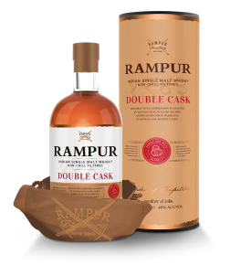 Bottle and packaging of Rampur Single Malt Double Cask Whiskey