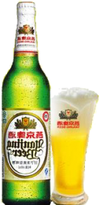 Bottle of Yanjing beer next to pint glass full of the beer.